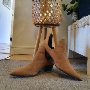 Zara Brown Suede Ankle Boots